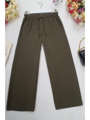 Wide Elastic Waist Trousers -Khaki