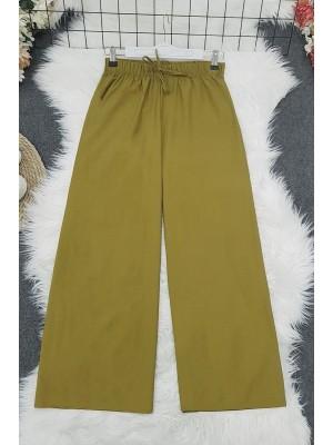 Wide Elastic Waist Trousers     -Olive