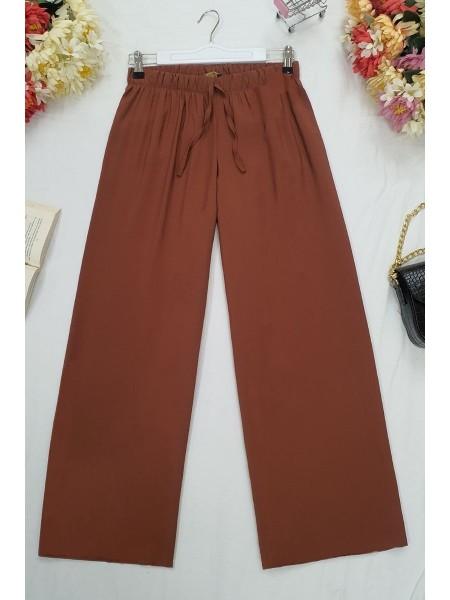 Wide Elastic Waist Trousers -Brick color