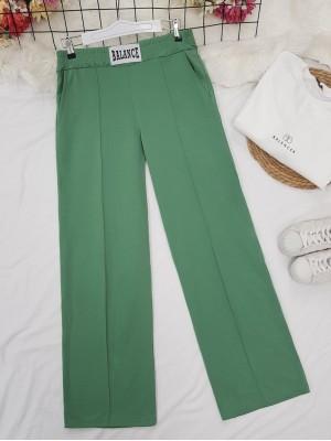 Elastic Waist Wide Leg Ribbed Sweatpants -Green