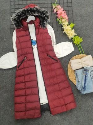 Fur Hooded Inflatable Vest     -Maroon