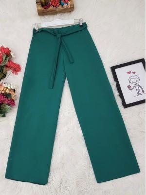 Tie Waist Double Wide Leg Trousers -Emerald