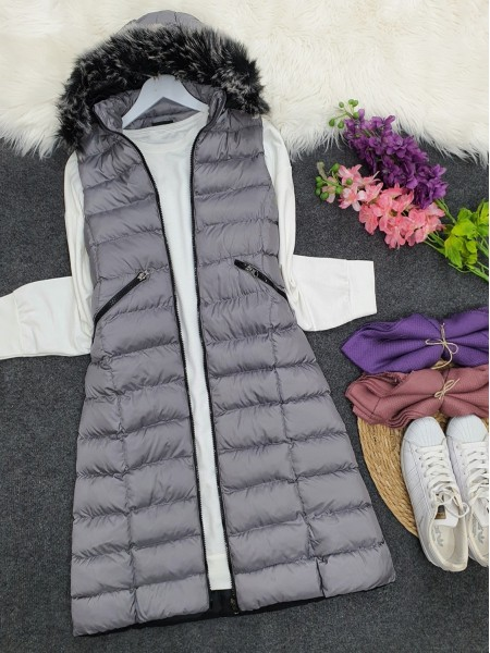 Fur Hooded Inflatable Vest  -Smoked