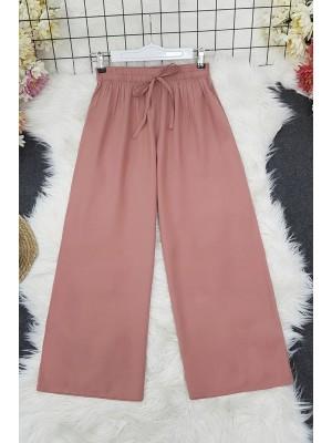 Wide Elastic Waist Trousers    -Powder
