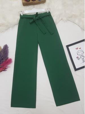 Tie Waist Double Wide Leg Trousers   -Green