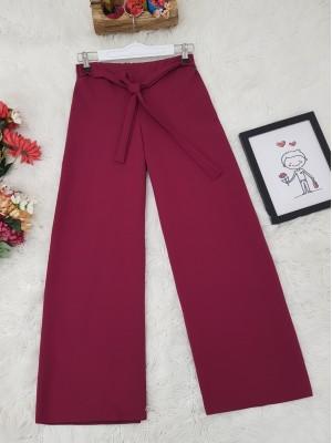 Tie Waist Double Wide Leg Trousers  -Damson