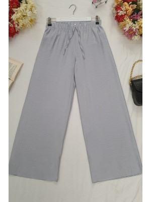 Wide Elastic Waist Trousers -Grey