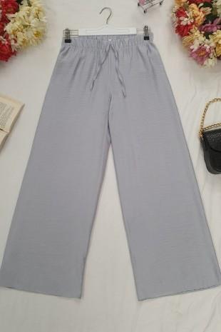 Beli Lastikli Salaş Pantolon -Gri