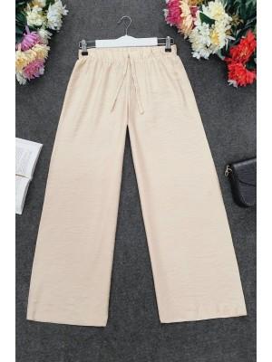 Wide Elastic Waist Trousers       -Ecru