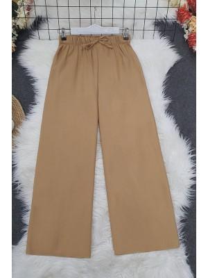 Wide Elastic Waist Trousers      -Mink color