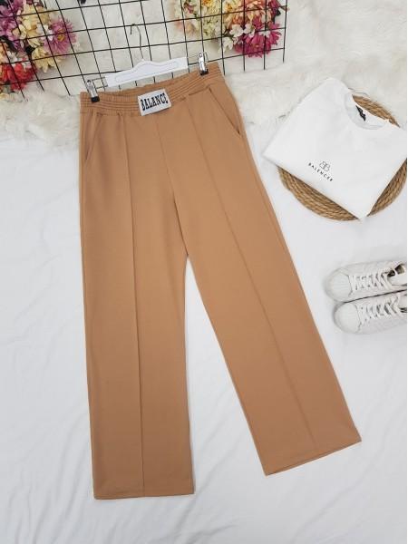 Elastic Waist Wide Leg Ribbed Sweatpants -Mink color