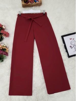 Tie Waist Double Wide Leg Trousers   -Maroon
