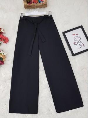 Tie Waist Double Wide Leg Trousers -Black