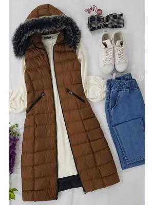 Fur Hooded Inflatable Vest  -Cinnamon