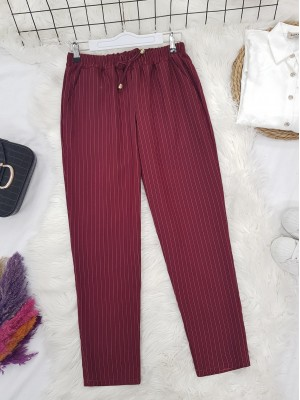 Elastic Waist Striped Lace Detail Trousers -Maroon