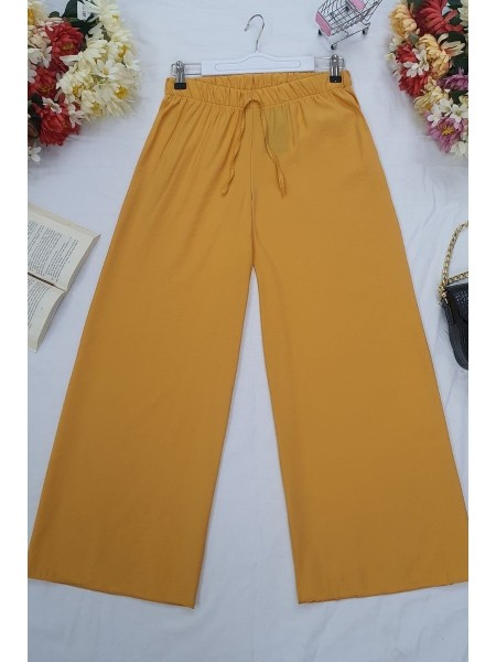 Wide Elastic Waist Trousers -Orange