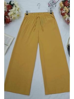 Wide Elastic Waist Trousers  -Mustard