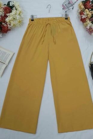 Beli Lastikli Salaş Pantolon  -Hardal