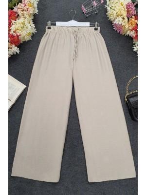 Wide Elastic Waist Trousers - Beige