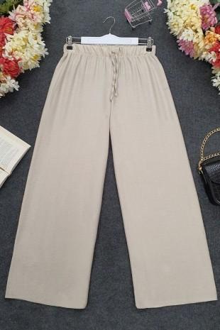 Beli Lastikli Salaş Pantolon -Bej