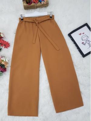 Tie Waist Double Wide Leg Trousers -Snuff