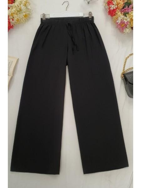 Wide Elastic Waist Trousers -Black