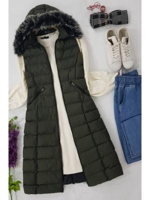 Fur Hooded Inflatable Vest  -Khaki