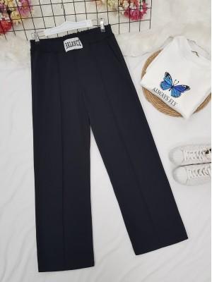 Elastic Waist Wide Leg Ribbed Sweatpants -Black