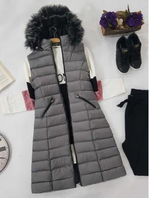 Fur Hooded Inflatable Vest   -Grey