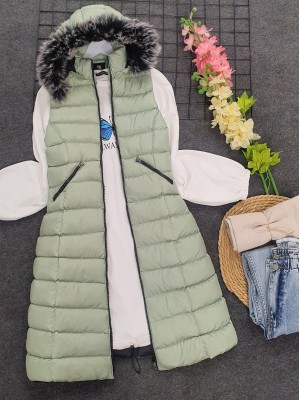 Fur Hooded Inflatable Vest    -Mint Color