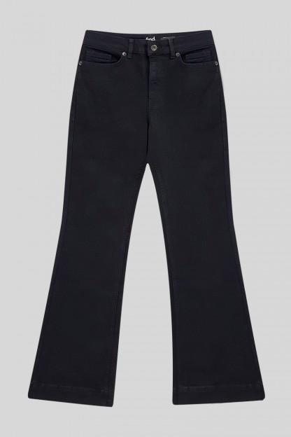 İspanyol Paça Likralı Kot Pantolon -Siyah