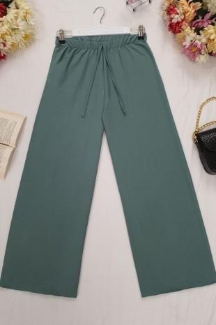 Beli Lastikli Salaş Pantolon -Zümrüt