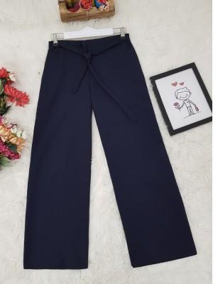 Tie Waist Double Wide Leg Trousers  -Navy blue