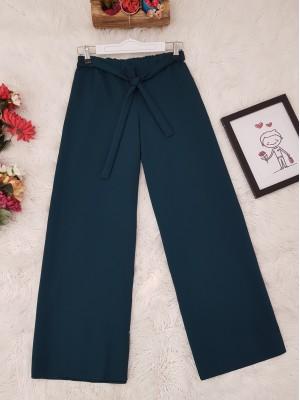 Tie Waist Double Wide Leg Trousers -Oil color