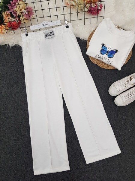 Elastic Waist Wide Leg Ribbed Sweatpants -White