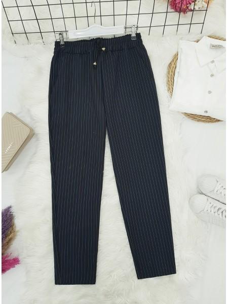 Elastic Waist Striped Lace Detail Trousers -Black