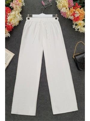 Wide Elastic Waist Trousers -White