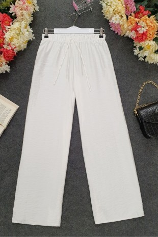 Beli Lastikli Salaş Pantolon -Beyaz