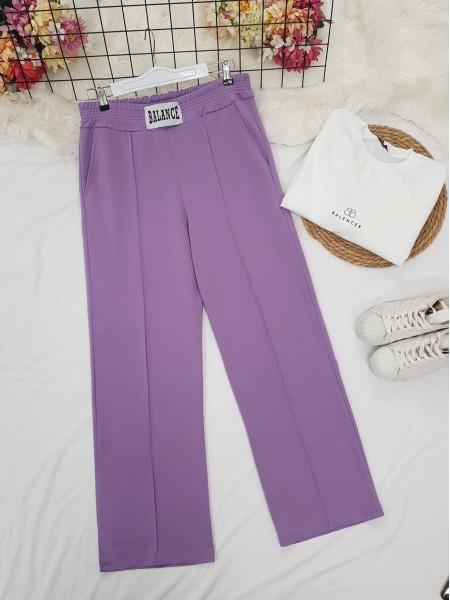 Elastic Waist Wide Leg Ribbed Sweatpants -Lilac