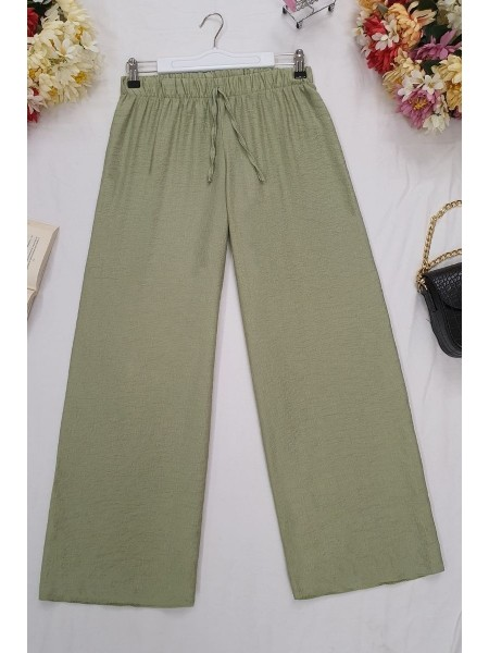 Wide Elastic Waist Trousers -Green