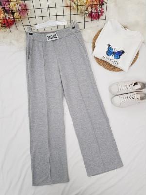 Elastic Waist Wide Leg Ribbed Sweatpants -Grey
