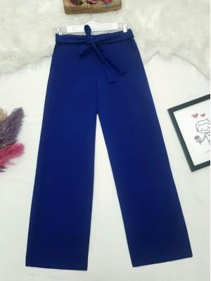Tie Waist Double Wide Leg Trousers   -Saxe