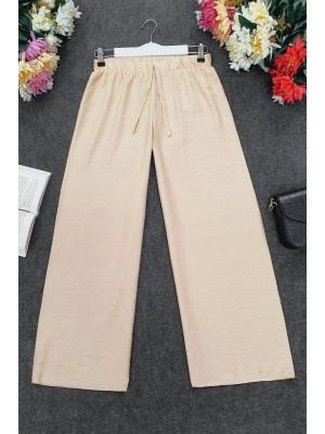 Wide Elastic Waist Trousers   -Salmon