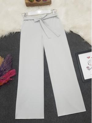 Tie Waist Double Wide Leg Trousers   -Grey