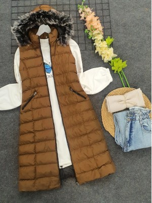 Fur Hooded Inflatable Vest      -Snuff