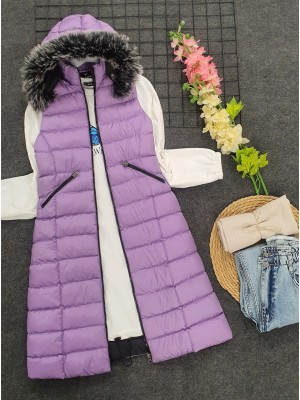 Fur Hooded Inflatable Vest    -Lilac