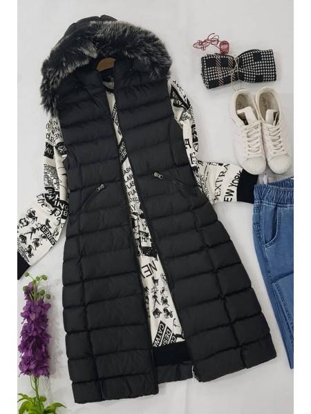 Fur Hooded Inflatable Vest -Black