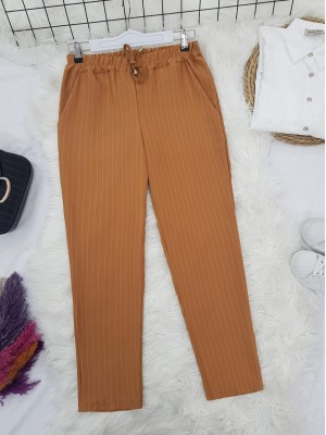 Elastic Waist Striped Lace Detail Trousers -Mustard