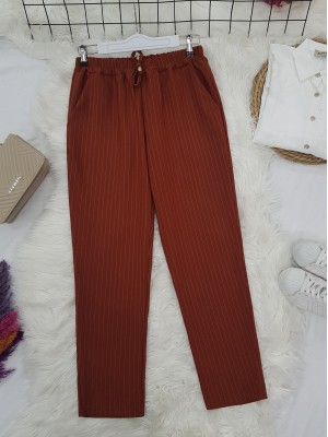 Elastic Waist Striped Lace Detail Trousers -Brick color
