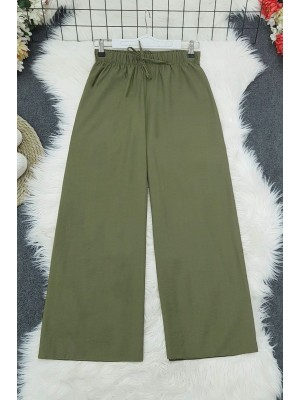 Wide Elastic Waist Trousers    -Camouflage